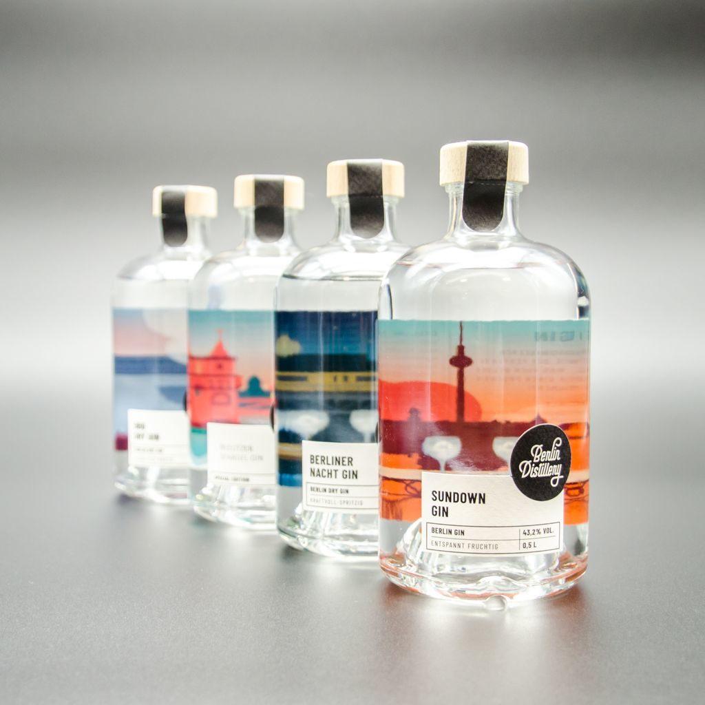 Übersicht über die vier Gins der Berlin Distillery, der Sundown Gin steht an erster Stelle