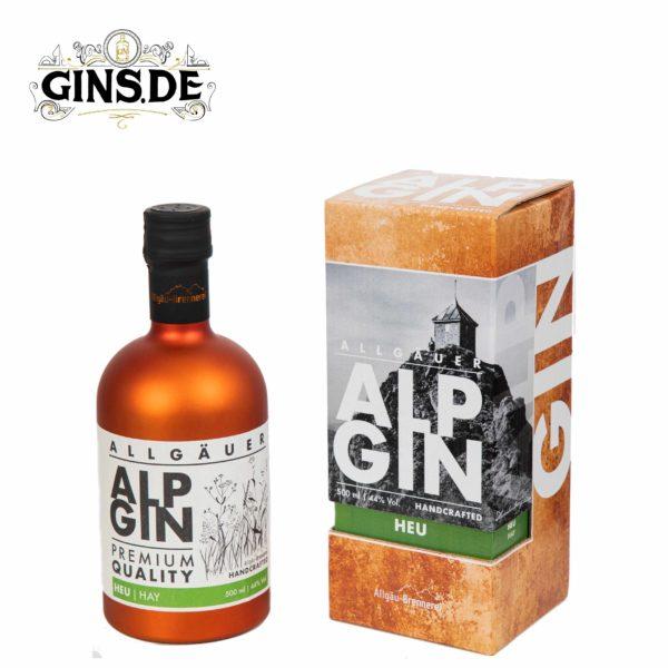 Flasche Alp Gin Heu mit Verpackung