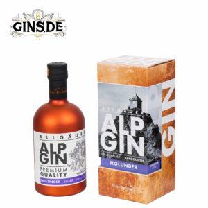 Flasche Alp Gin Holunder mit Verpackung