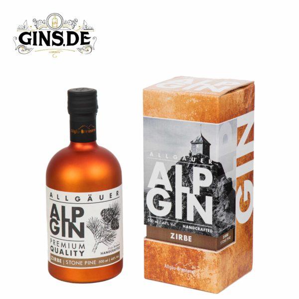 Flasche Alp Gin Zirbe mit Verpackung