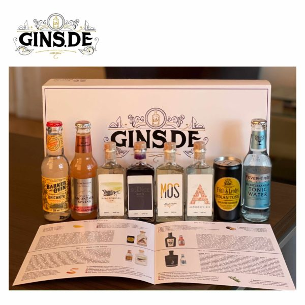 Gin Entdecker Box mit Inhalt und Buch offen