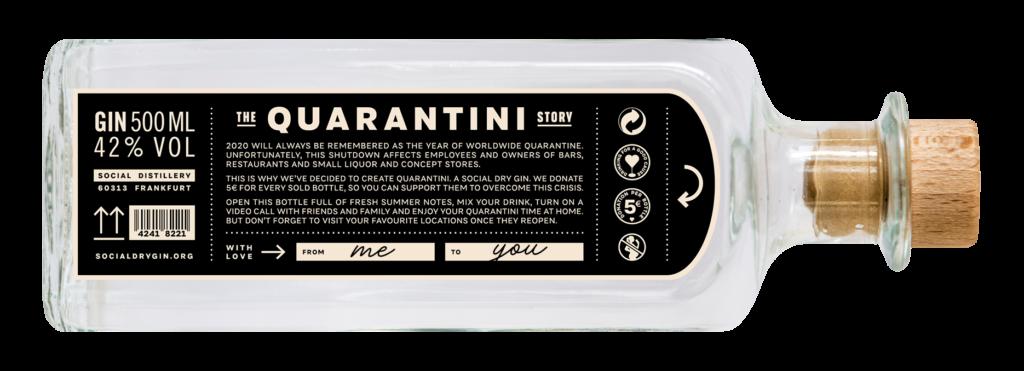 Flasche Quarantini Social Dry Gin liegend