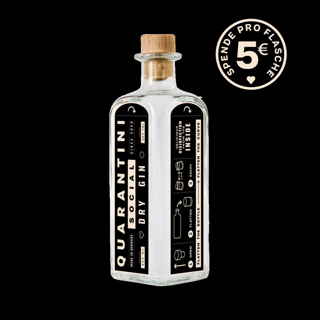 Flasche Quarantini Social Dry Gin mit Botanicals