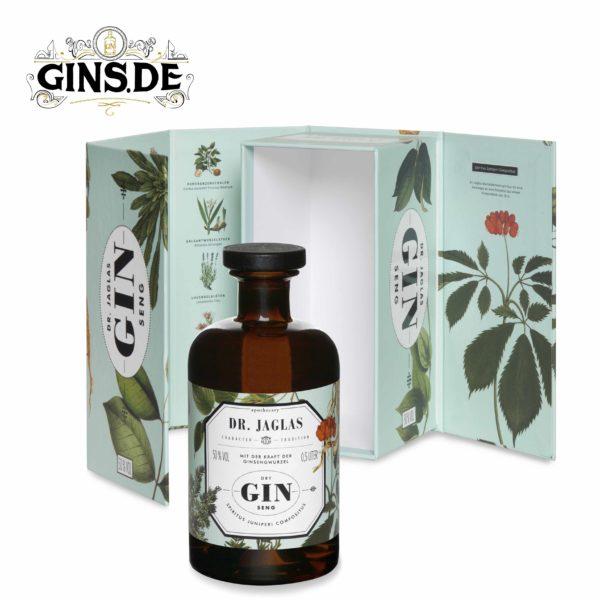 Dr Jaglas GINseng Gin mit Verpackung