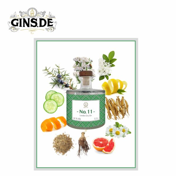 Flasche Baccys No 11 London Dry Gin Botanicals