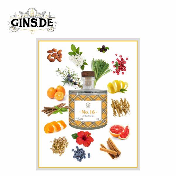 Flasche Baccys No 16 London Dry Gin Botanicals