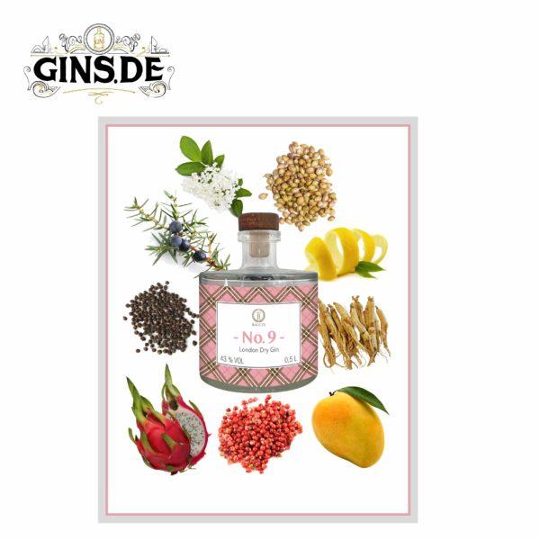 Flasche Baccys No 9 London Dry Gin Botanicals