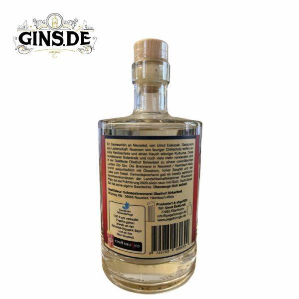 Flasche Pegelturm Neuwied London Dry Gin hinten
