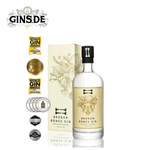 Flasche Broken Bones London Dry Gin mit Auszeichnungen