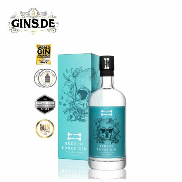 Flasche Broken Bones Navy Strengh Gin mit Auszeichnungen