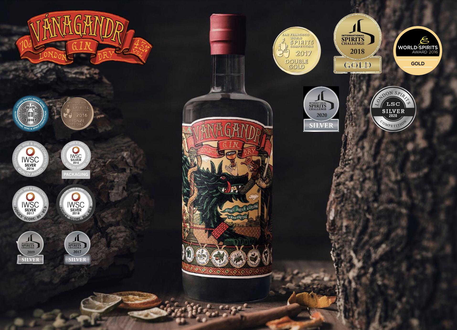 Flasche Vanagandr London Dry Gin mit Auszeichnungen