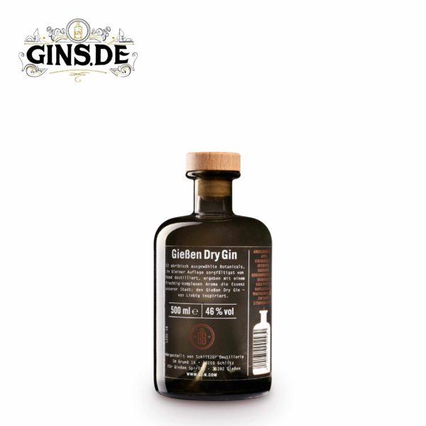 Flasche Gießen Dry Gin hinten