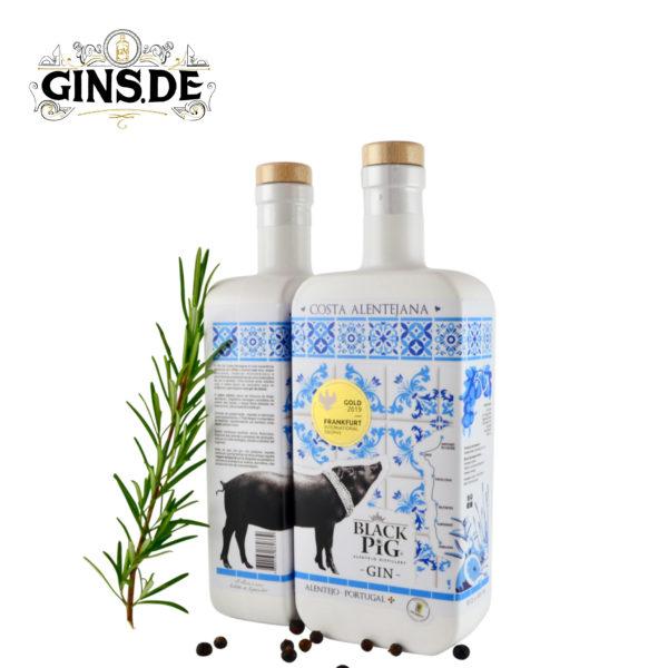 Flasche Black Pig Gin Costa Alentejano seite