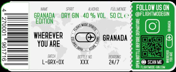 Ticket Flight Mode Gin GRANADA EDITION